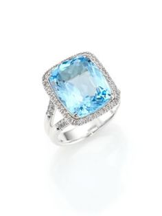 JOHN HARDY Classic Chain Diamond, Blue Topaz & Sterling Silver Ring. #johnhardy #ring