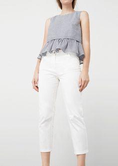 Diseño crop Tejido mezcla de algodón Trabillas Dos bolsillos laterales Dos bolsillos de parche en la parte posterior Cierre de cremallera y botón