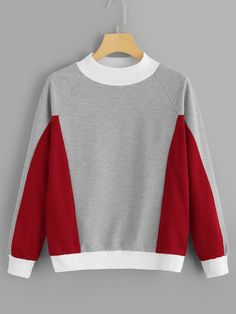 Shop Cut And Sew Panel Raglan Sleeve Sweatshirt online. SHEIN offers Cut And Sew Panel Raglan Sleeve Sweatshirt & more to fit your fashionable needs. Cut Sweatshirts, Sweatshirts Online, Hoodies, Sweat Shirt, Baskets Louis Vuitton, Traje Casual, Mode Chic, Fashion Outfits, Womens Fashion