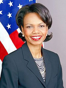 Condoleezza Rice (Nov 14, 1954) Rice was the first female African-American Secretary of State, as well as the second African American (after Colin Powell), and the second woman (after Madeleine Albright). Rice was Bush's National Security Advisor in his first term, the first woman to serve in that position.