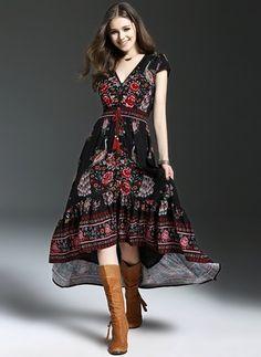 Polyester Floral Half Sleeve High Low Vintage Dresses (1025120) @ floryday.com