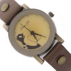 Reloj marrón claro con esfera en tonos pastel y borde negro. Con dibujo de un gato elegante en su esfera. #reloj #relojpulsera #relojgato Disponible en la tienda www.zen-kat.com