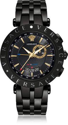 Versace V-Race GMT Alarm Schwarz plattierte Herrenuhr - Products - Technologie White Watches For Men, Best Watches For Men, Vintage Watches For Men, Luxury Watches For Men, Cool Watches, Rolex Watches, Versace Watches, Analog Watches, Cheap Watches