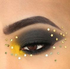 Black and yellow eyeshadow with gold stars🌟 Red Makeup Looks, Basic Makeup Tutorial, Orange Eye Makeup, Yellow Eyeshadow, Gold Stars, Black N Yellow, Best Makeup Products, Lashes, Face Makeup