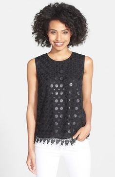 Chaus Sequin Lace Front Shell Rich Black Top | Clothing