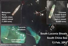 """South Luconia Shoals, South China Sea, off the coast of Malaysia. Large Chinese """"white hull"""" Coast Guard vessel muscles out Malaysian fishermen. Article by Victor Robert Lee. https://sites.google.com/site/victorrobertlee/"""