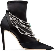 Jimmy Choo LYJA 100 Black Stretch Satin Bootie with Crystal Necklace Detail Jimmy Choo Glasses, Jimmy Choo Shoes, Most Expensive Shoes, Shoes Boots Ankle, Latest Shoes, Designer Boots, Fashion Heels, Luxury Shoes, Amazing Women