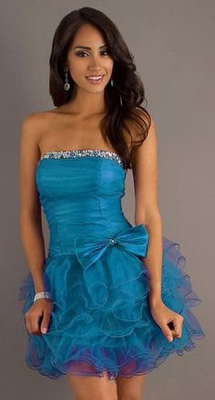 Poofy Ruffled Teal Short Homecoming Dress Strapless Sequins $147.99