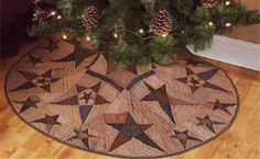 """PRIMITIVE STAR TEA DYED COUNTRY QUILTED CHRISTMAS TREE SKIRT 48"""" DIAMETER QUILT"""
