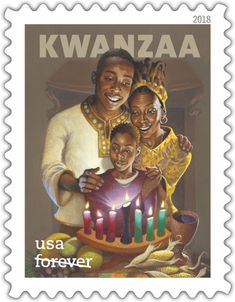 Big Family Life African American Culture Kwanzaa Postage Stamps Holiday