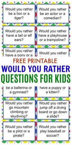 Would you rather questions for kids are a great way to make dinner time more fun. These free printable would you rather questions will engage your kids too. - Kids education and learning acts Home Learning, Learning Activities, Activities For Kids, Camping Games For Kids, Icebreaker Games For Kids, Fun Printables For Kids, Icebreakers For Kids, Fun Worksheets For Kids, Road Trip Activities
