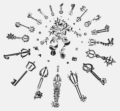 Kingdom Hearts Keyblades (Bond of Flame, Oathkeeper, and Lost Memory are my favorites, by looks not function)