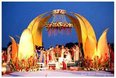 Selecting the Perfect Mandap for Your Indian Wedding Selecting the Perfect Mandap for Your Indian Wedding Ceremony One of the most important details of an Indian Wedding Ceremony is the mandap. Marriage Decoration, Wedding Stage Decorations, Wedding Themes, Wedding Designs, Floral Decorations, Wedding Ideas, Hindu Wedding Ceremony, Wedding Mandap, Wedding Chairs