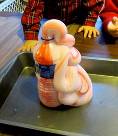 elephant toothpaste - yeast,peroxide,food coloring,and a squirt of dish soap = FUN!