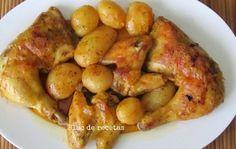 Pollo al horno con patatas en bolsa de asar