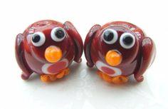 Christmas Robin Lampwork Beads UK per Bead by shineon2 on Etsy, £3.50