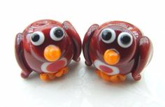 Christmas Robin Lampwork Beads UK per Bead by shineon2 on Etsy, £3.50