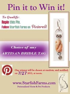 Pin-To-Win! Choice of ARTISAN BRIDLE TAG. TWO(!) lucky winners to be drawn at noon, on 7/27.   http://www.starfishfarms.com/horse/ooakbt