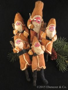 Instant Collection of Five Antique Spun Cotton Santa Claus Ornaments
