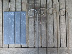 Set of Four Metal Garden Rusted Crooks For use with Slate Plant Labels.