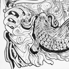 Psychedelic insect intersection illustration. // #ink // #doodle // #drawing // #psychedelic // #lsdtrip // #Illustration // #insect // #fish // #koi // #trippy //#boobs // #intaart // #eyes //