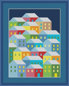 Village Geometric Modern Cross stitch pattern PDF Instant Download