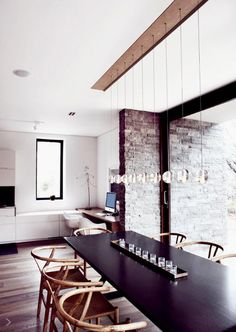 Bricks and wooden floor, table and lights. Not the wall color tho.