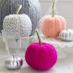 How to make these fun and colorful Yarn Covered Pumpkins for Halloween and all…