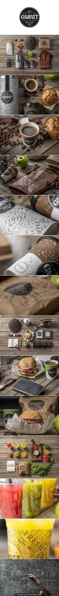 Coffee Shop Branding: Gawatt Take-Out Coffee created by Stepan Azaryan, Karen Gevorgyan and Armenak Grigoryan Food photography #iunnui #ideas