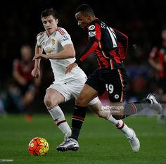 Manchester United's Northern Irish midfielder <a gi-track='captionPersonalityLinkClicked' href='/galleries/personality/13607424' ng-click='$event.stopPropagation()'>Paddy McNair</a> (L) vies with Bournemouth's English midfielder Junior Stanislas during the English Premier League football match between Bournemouth and Manchester United at the Vitality Stadium in Bournemouth, southern England on December 12, 2015. Bournemouth won the match 2-1. AFP PHOTO / ADRIAN DENNIS No use with…