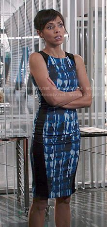 Camille's blue and black abstract print dress on Bones.  Outfit Details: http://wornontv.net/48777/ #Bones