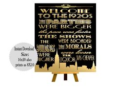 PRINTABLE Welcome to the 1920s ,Gatsby party decoration, Roaring 20s Art deco, Gatsby Printables, Wedding Decor, Gatsby Wedding Signs by inkmebeautiful on Etsy https://www.etsy.com/listing/462584170/printable-welcome-to-the-1920s-gatsby