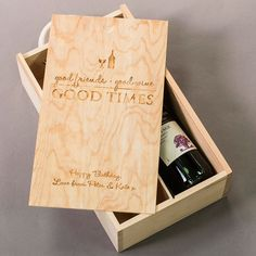 Personalised Two Bottle Wooden Wine Box - Good Friends, Good Wine, Good Times | GettingPersonal.co.uk