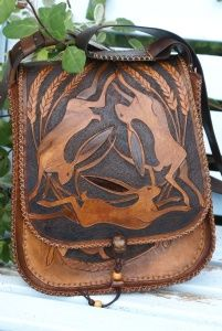 Gorgeous, bespoke hard-carved leather bag designed and made by Chris Hurst.