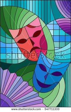 Illustration in stained glass style on the theme of carnival, abstract, mask