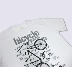 Camiseta Bicycle Parts - branca. By lovbike São Paulo - Brasil