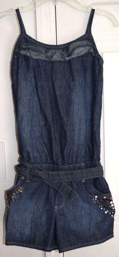 Justice Girls Denim Blue Jumper Romper Tank Shorts Size 12 js #Justice