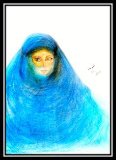 Mulher com véu azul, Tânia T M de Castro. Aquarela. Essa é uma das minhas pinturas de que mais gosto. Também considero essa uma das minhas melhores pinturas.