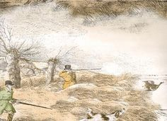 Alken Wildfowlers Wallpaper Wallpaper with scenes of Duck shooting on the river