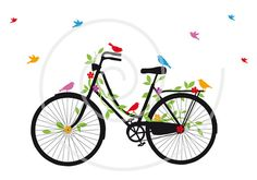 Old vintage bicycle with birds, leaves and flowers, digital clip art, clipart, clip-art, vector, printable, illustration, instant download