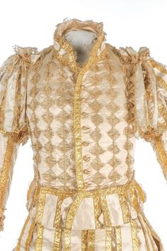 Doublet & Hose (image 6) | England | 1821 | satin, lace, gilt thread | Kerry Taylor Auctions | December 12, 2016 | Worn by the Earl of Camden for the coronation of King George IV on 19 July 1821. The theme was Elizabethan/Jacobean.
