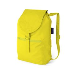 This Daypack is a lightweight nylon backpack in electric yellow that's great for travel. It's quick to dry after a rain shower and can be stowed away in its own tiny pocket.  It boasts adjustable straps, inner drawstring closure, an outer snap and a buckle. Perfect for the jet setters among us who want to bring an extra bag for the return trip, or those of us who just want a cute new daypack!
