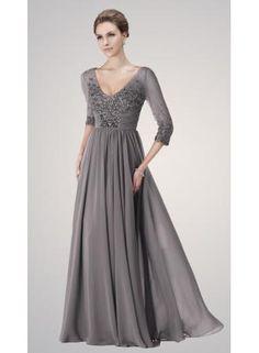 USD$179.00 - Plus Size V-Neck Grey Chiffon Mother of the Bride Dresses 3/4 Sleeves Beadings Long Evening Dresses - www.suzhoudress.com