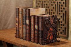 Antike Groß Buchstütze - Buchstützen aus metall mit wunderschön Entwurf - Schmiedeeisen: Amazon.de: Küche & Haushalt