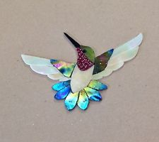 "PRECUT STAINED GLASS ART MALE HUMMINGBIRD MOSAIC INLAY HAND CRAFTED 6"" x 4"""