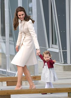 Catherine Duchess of Cambridge and Princess Charlotte depart Victoria after the Royal Tour of Canada at Victoria Inner Harbour on October 1 2016 in...