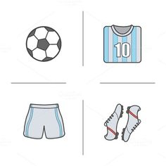 Football player's kit and ball. Football Love, Football Players, Game Icon, Icon Set, Web Design Icon, Design Trends, Graphic Design, Brand Icon, Typo Logo