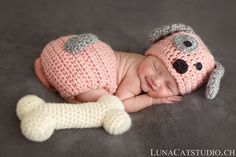 Crochet baby hat, diaper cover & photo props by emmascozyattic Crochet Baby Costumes, Crochet Baby Hats, Baby Knitting, Boy Dog Clothes, Diy Baby Shower Centerpieces, Preemie Crochet, Puppy Hats, Newborn Photo Outfits, Newborn Puppies