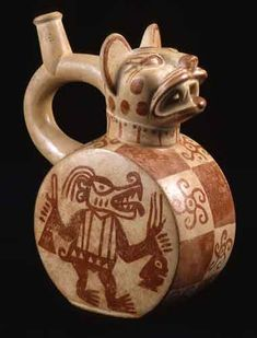 Moche Stirrup Vessel - Origin: Northern Coast of Peru Circa: 1 AD to 500 AD Dimensions: high x wide x depth Collection: Pre-Columbian Medium: Terracotta South American Art, Native American Art, Ceramic Pottery, Ceramic Art, Colombian Art, Peruvian Art, Pottery Sculpture, Ceramic Animals, Ancient Artifacts