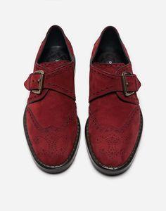 Suede Monk Strap Shoes Bordeaux